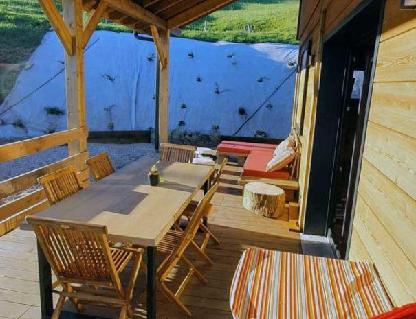 terrasse avec hamac Chalet Milien